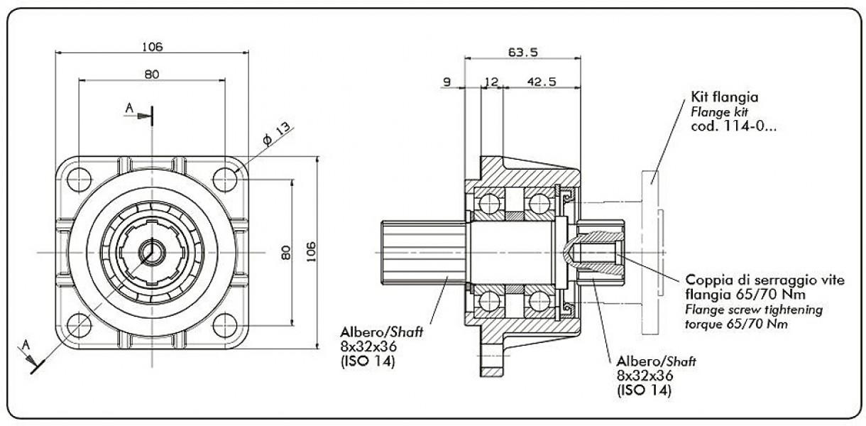 09902800153 ISO 4H - Flange adaptor for cardan shaft | dominga lt