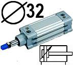 DNC serijos cilindrai pagal DIN ISO6431 (SC2M), Skersmuo 32 mm