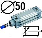 DNC serijos cilindrai pagal DIN ISO6431 (SC2M), Skersmuo 50 mm