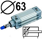 DNC serijos cilindrai pagal DIN ISO6431 (SC2M), Skersmuo 63 mm