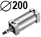 DNC serijos cilindrai pagal DIN ISO6431 (SC2M), Skersmuo 200 mm